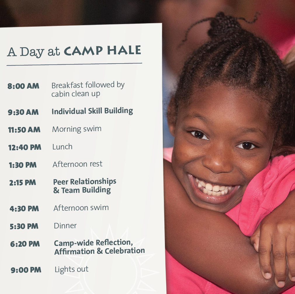 A Day at Camp Hale 8:00 AM Breakfast followed by cabin clean up 9:30 AM Individual Skill Building 11:50 AM Morning swim 12:40 PM Lunch 1:30 PM Afternoon rest 2:15 PM Peer Relationships & Team Building 4:30 PM Afternoon swim 5:30 PM Dinner 6:20 PM Camp-wide Reflection, Affirmation & Celebration 9:00 PM Lights out
